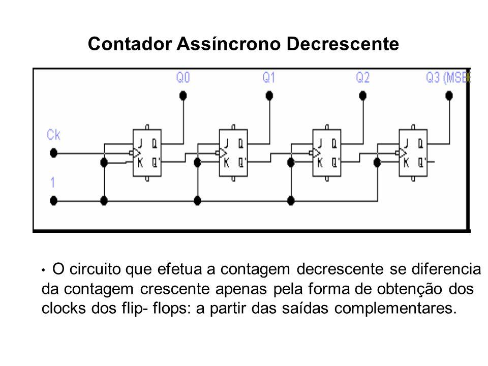 Contador Assíncrono Decrescente O circuito que efetua a contagem decrescente se diferencia da contagem crescente apenas pela forma de obtenção dos clo