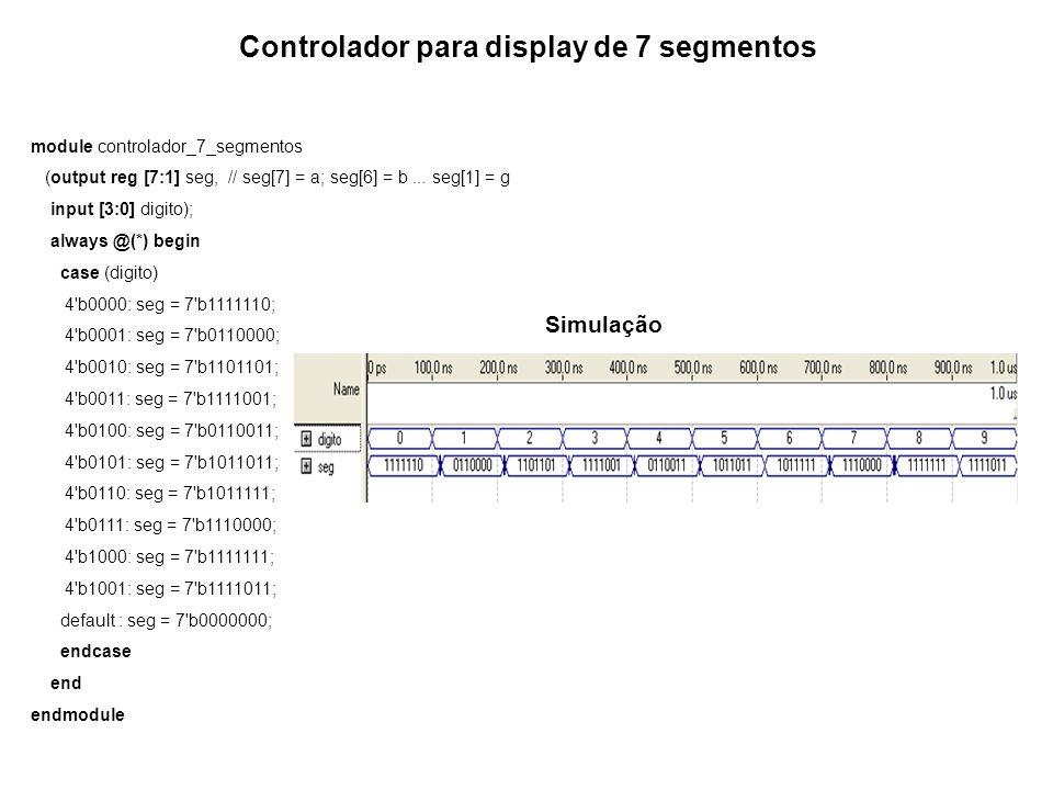 Controlador para display de 7 segmentos module controlador_7_segmentos (output reg [7:1] seg, // seg[7] = a; seg[6] = b... seg[1] = g input [3:0] digi
