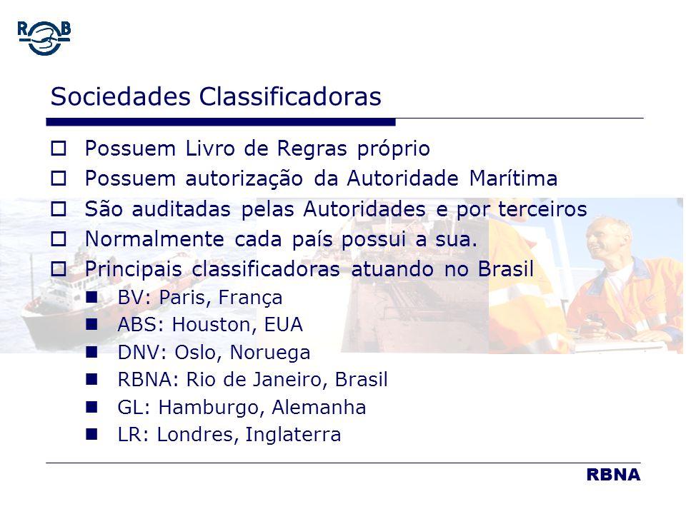 LDM 16.02.06 Sociedades Classificadoras Possuem Livro de Regras próprio Possuem autorização da Autoridade Marítima São auditadas pelas Autoridades e p