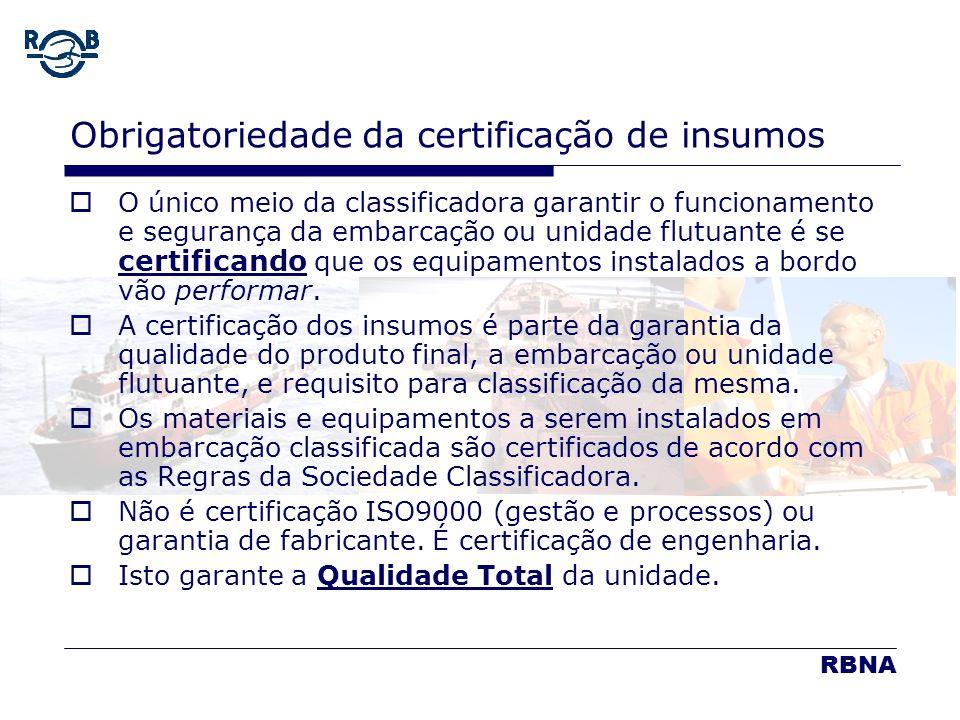 LDM 16.02.06 Obrigatoriedade da certificação de insumos O único meio da classificadora garantir o funcionamento e segurança da embarcação ou unidade f