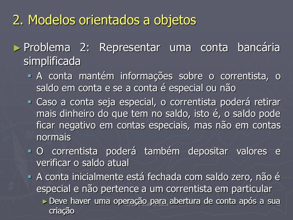 (C) 2008 Gustavo Motta11 Problema 2: Representar uma conta bancária Problema 2: Representar uma conta bancária Representação das propriedades essenciais Representação das propriedades essenciais Estado da conta Estado da conta .