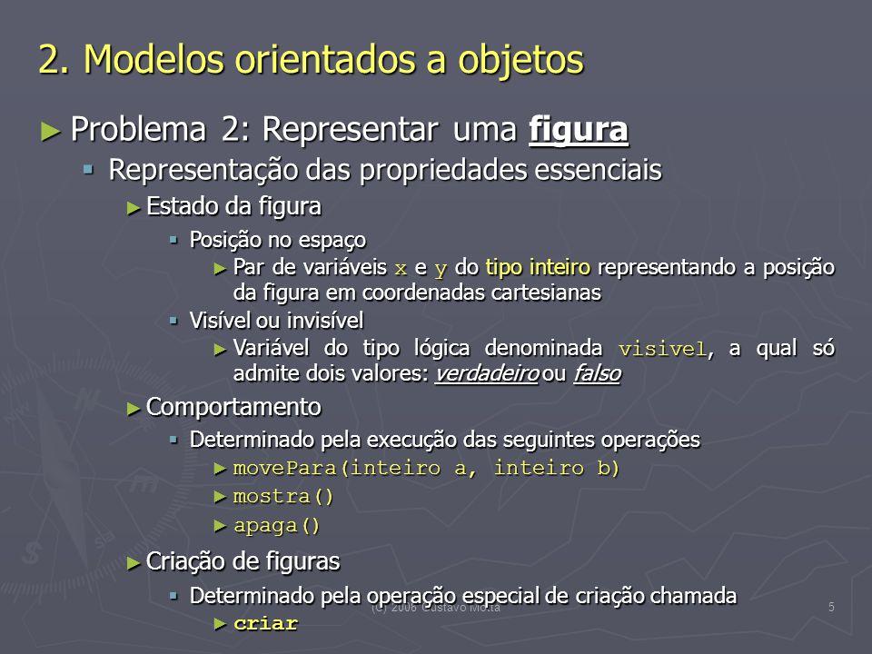(C) 2008 Gustavo Motta5 Problema 2: Representar uma figura Problema 2: Representar uma figura Representação das propriedades essenciais Representação das propriedades essenciais Estado da figura Estado da figura Posição no espaço Posição no espaço Par de variáveis x e y do tipo inteiro representando a posição da figura em coordenadas cartesianas Par de variáveis x e y do tipo inteiro representando a posição da figura em coordenadas cartesianas Visível ou invisível Visível ou invisível Variável do tipo lógica denominada visivel, a qual só admite dois valores: verdadeiro ou falso Variável do tipo lógica denominada visivel, a qual só admite dois valores: verdadeiro ou falso Comportamento Comportamento Determinado pela execução das seguintes operações Determinado pela execução das seguintes operações movePara(inteiro a, inteiro b) movePara(inteiro a, inteiro b) mostra() mostra() apaga() apaga() Criação de figuras Criação de figuras Determinado pela operação especial de criação chamada Determinado pela operação especial de criação chamada criar criar 2.