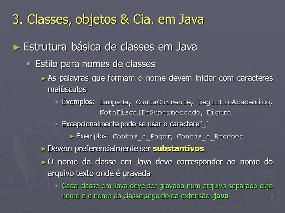 (C) 2008 Gustavo Motta12 Estrutura básica de classes em Java Estrutura básica de classes em Java Estilo para nomes de classes Estilo para nomes de cla