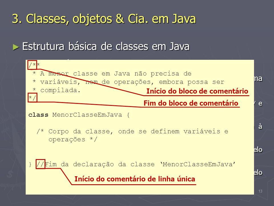 (C) 2008 Gustavo Motta13 Estrutura básica de classes em Java Estrutura básica de classes em Java Comentários Comentários Texto escrito pelo programado
