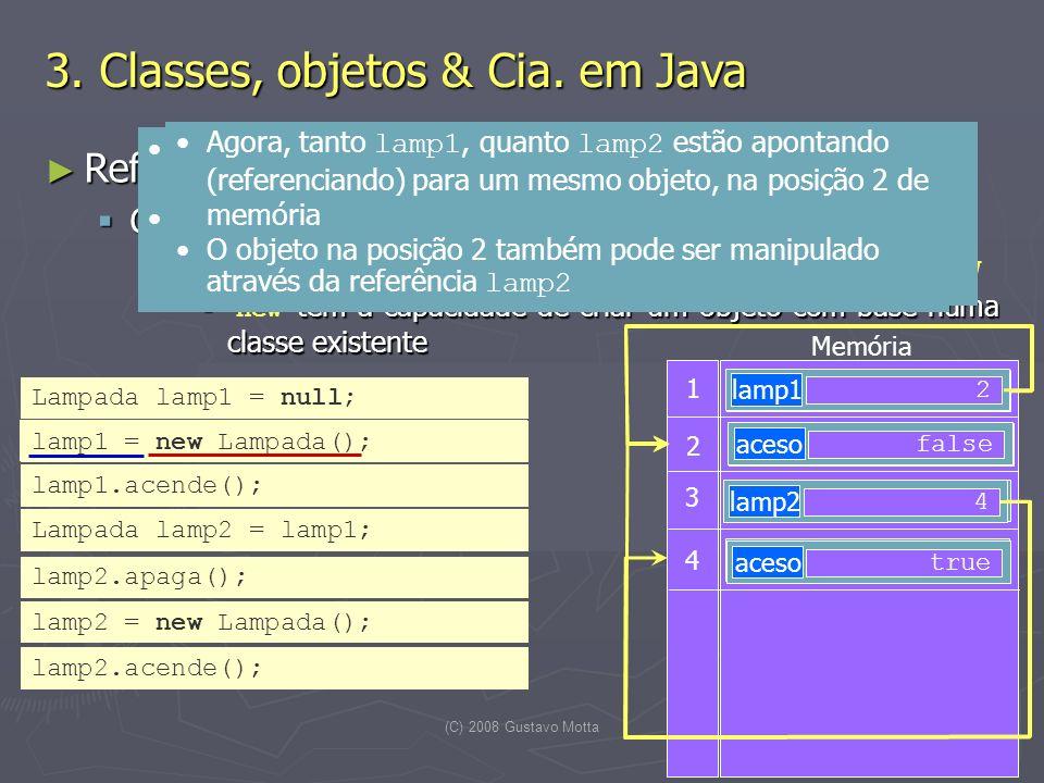 (C) 2008 Gustavo Motta20 Referências e criação de objetos Referências e criação de objetos Criação de objetos Criação de objetos Objetos são criados (