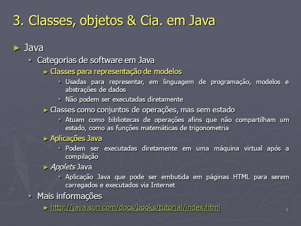 (C) 2008 Gustavo Motta8 3. Classes, objetos & Cia. em Java Java Java Categorias de software em Java Categorias de software em Java Classes para repres