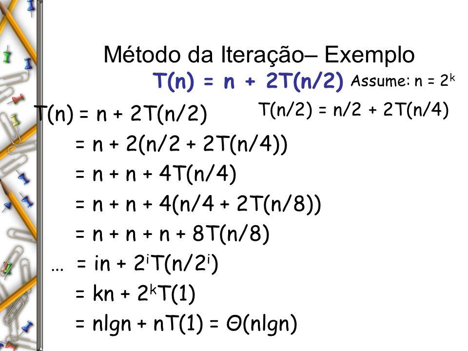 Método da Iteração– Exemplo T(n) = n + 2T(n/2) = n + 2(n/2 + 2T(n/4)) = n + n + 4T(n/4) = n + n + 4(n/4 + 2T(n/8)) = n + n + n + 8T(n/8) … = in + 2 i