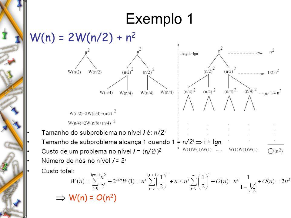 Exemplo 1 W(n) = 2W(n/2) + n 2 Tamanho do subproblema no nível i é: n/2 i Tamanho de subproblema alcança 1 quando 1 = n/2 i i = lgn Custo de um problema no nível i = ( n/2 i ) 2 Número de nós no nível i = 2 i Custo total: W(n) = O(n 2 )