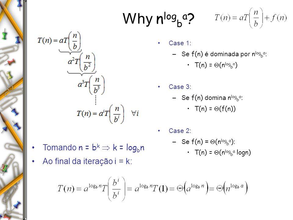 Why n log b a ? Tomando n = b k k = log b n Ao final da iteração i = k: Case 1: –Se f(n) é dominada por n log b a : T(n) = (n log b n ) Case 3: –Se f(