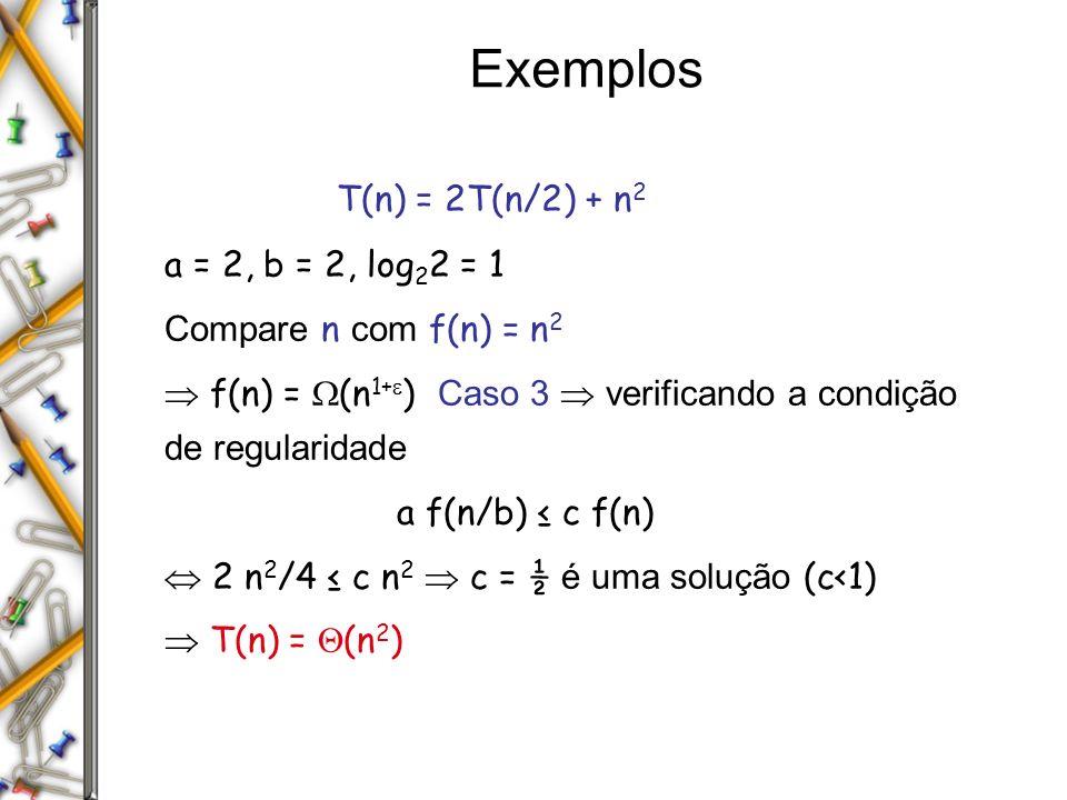 Exemplos T(n) = 2T(n/2) + n 2 a = 2, b = 2, log 2 2 = 1 Compare n com f(n) = n 2 f(n) = (n 1+ ) Caso 3 verificando a condição de regularidade a f(n/b) c f(n) 2 n 2 /4 c n 2 c = ½ é uma solução (c<1) T(n) = (n 2 )