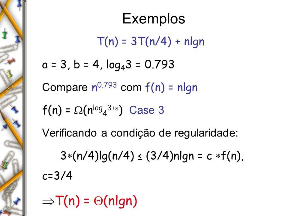 Exemplos T(n) = 3T(n/4) + nlgn a = 3, b = 4, log 4 3 = 0.793 Compare n 0.793 com f(n) = nlgn f(n) = (n log 4 3+ ) Case 3 Verificando a condição de reg