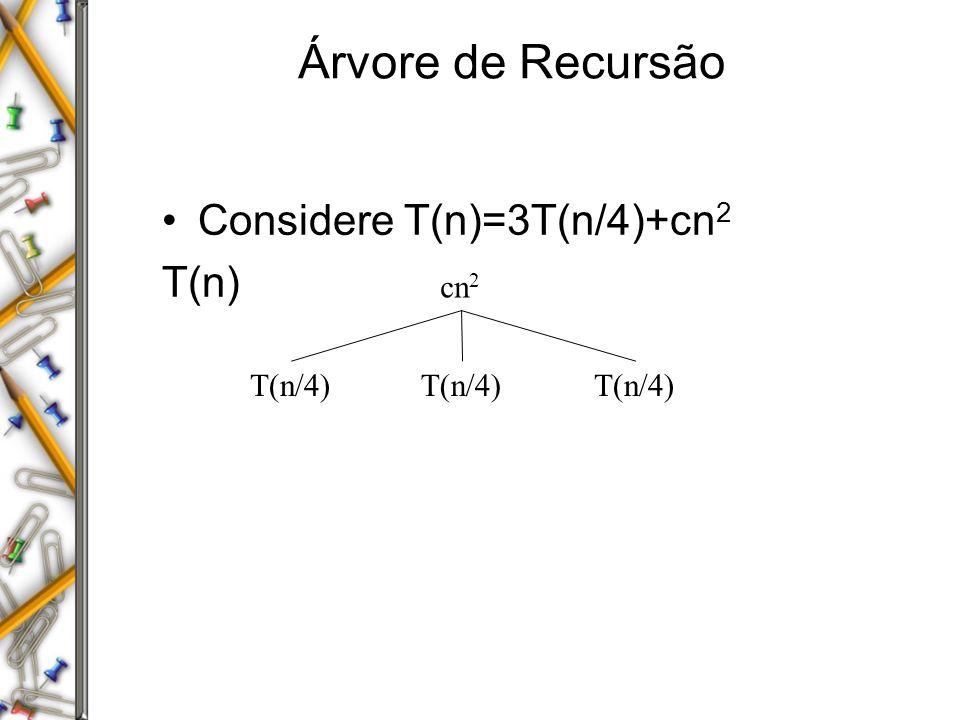 Árvore de Recursão Considere T(n)=3T(n/4)+cn 2 T(n) cn 2 T(n/4)