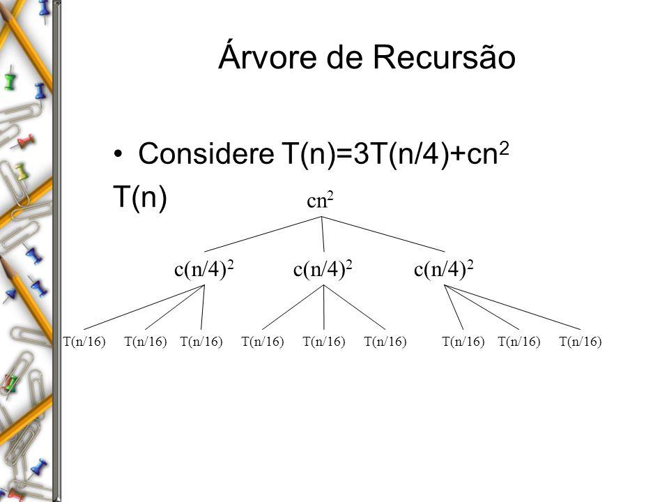 Árvore de Recursão Considere T(n)=3T(n/4)+cn 2 T(n) cn 2 c(n/4) 2 T(n/16)