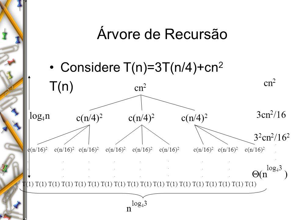 Árvore de Recursão Considere T(n)=3T(n/4)+cn 2 T(n) cn 2 c(n/4) 2 c(n/16) 2 T(1) T(1) T(1) T(1) T(1) T(1) T(1) T(1) T(1) log 4 n n log 4 3 cn 2 3cn 2