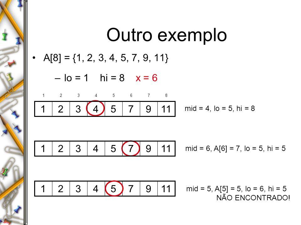 Análise do BINARY-SEARCH Alg.: BINARY-SEARCH (A, lo, hi, x) if ( lo > hi ) return FALSE mid (lo+hi)/2 if x = A[mid] return TRUE if ( x < A[mid] ) BINARY-SEARCH ( A, lo, mid-1, x ) if ( x > A[mid] ) BINARY-SEARCH ( A, mid+1, hi, x ) T(n) = c + T(n/2) –T(n) – tempo de execução para um vetor de tamanho n tempo contante: c 2 mesmo problema de tamanho n/2 tempo contante: c 1 tempo contante: c 3