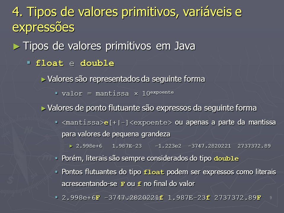 (C) 2008 Gustavo Motta20 public void compra(int valor = valorCompra) { if ((saldo + valor) <= limite) { if ((saldo + valor) <= limite) { saldo = saldo + valor; saldo = saldo + valor; creditaBonus(valor); creditaBonus(valor); } else { else { System.out.println( Limite de crédito não... ); System.out.println( Limite de crédito não... ); }} Operações parametrizadas Operações parametrizadas No momento em que é executada, o valor da variável é passado como parâmetro, sendo denominado de parâmetro real ou argumento da operação No momento em que é executada, o valor da variável é passado como parâmetro, sendo denominado de parâmetro real ou argumento da operação 4.