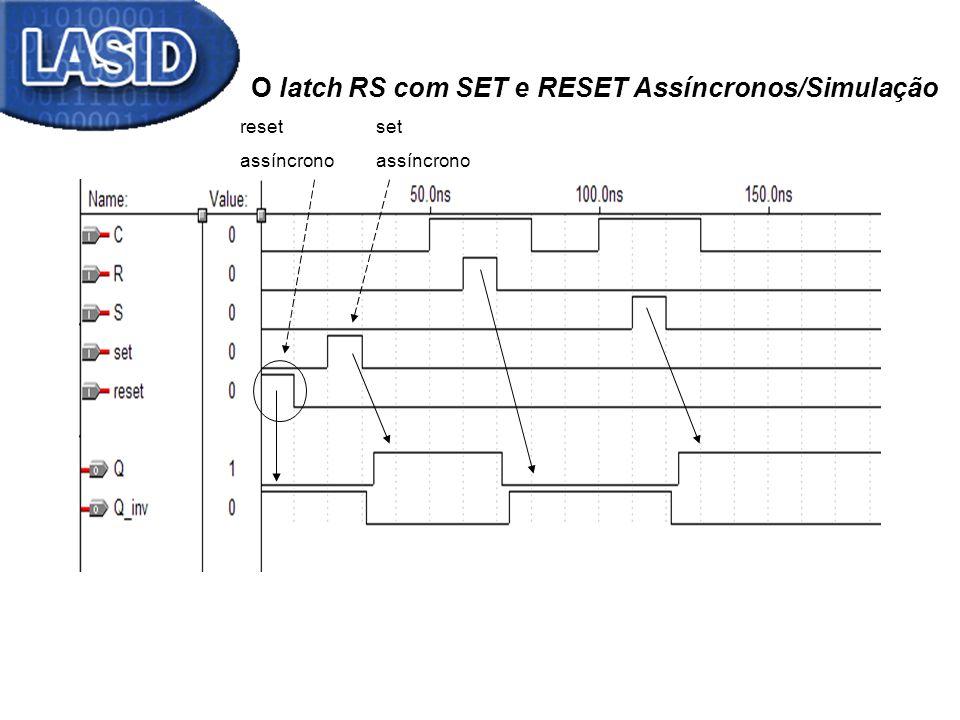reset assíncrono set assíncrono O latch RS com SET e RESET Assíncronos/Simulação