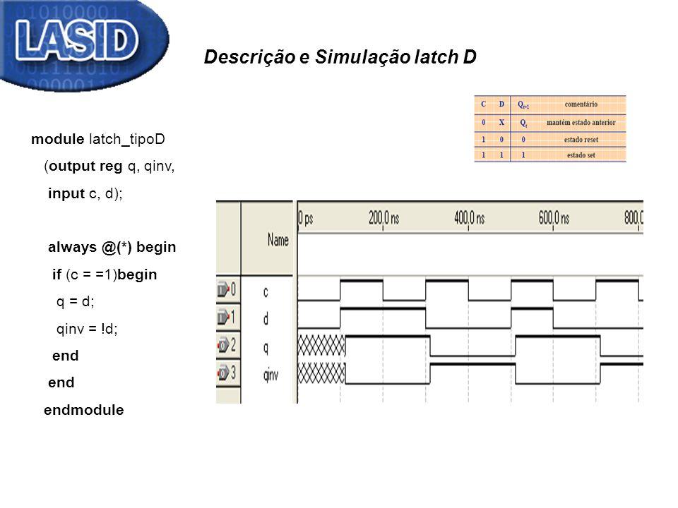 Descrição e Simulação latch D module latch_tipoD (output reg q, qinv, input c, d); always @(*) begin if (c = =1)begin q = d; qinv = !d; end endmodule