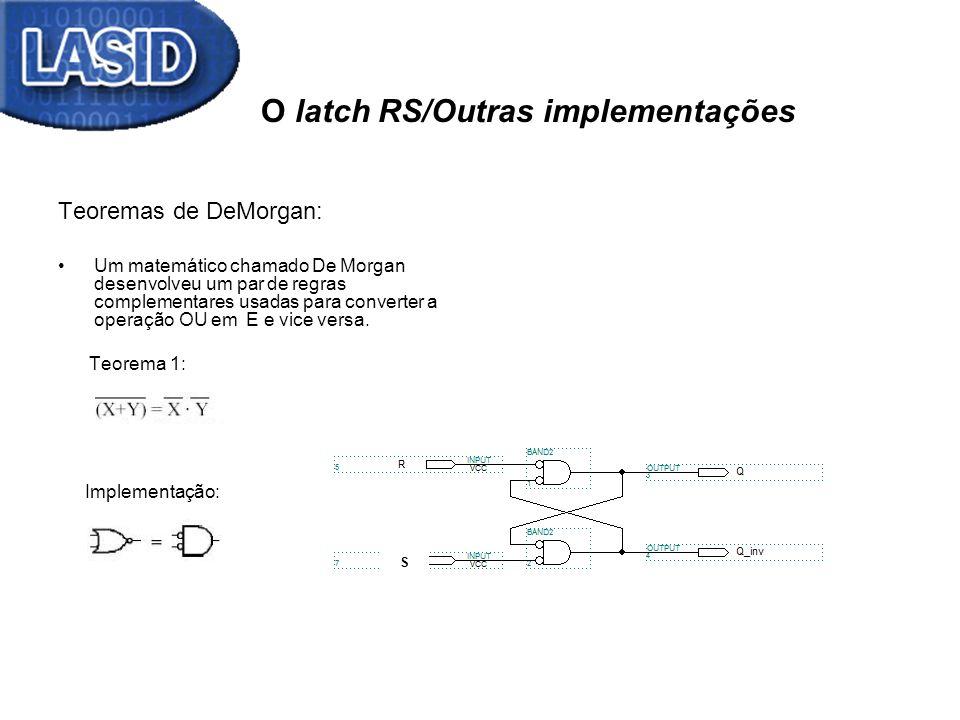 O latch RS/Outras implementações Teoremas de DeMorgan: Um matemático chamado De Morgan desenvolveu um par de regras complementares usadas para convert