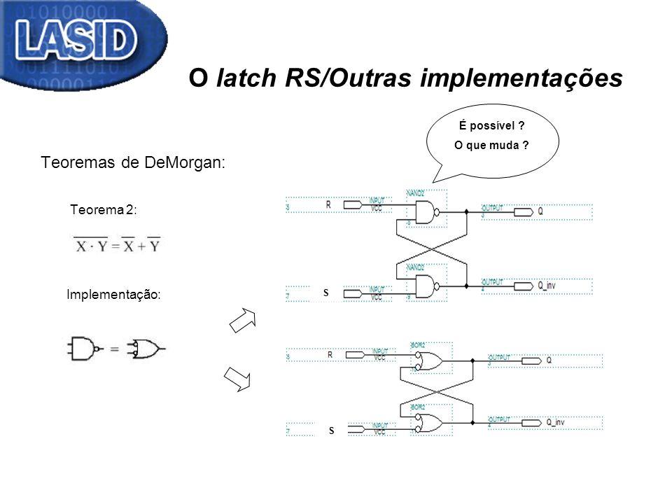 O latch RS/Outras implementações Teoremas de DeMorgan: Teorema 2: Implementação: É possível ? O que muda ? S S