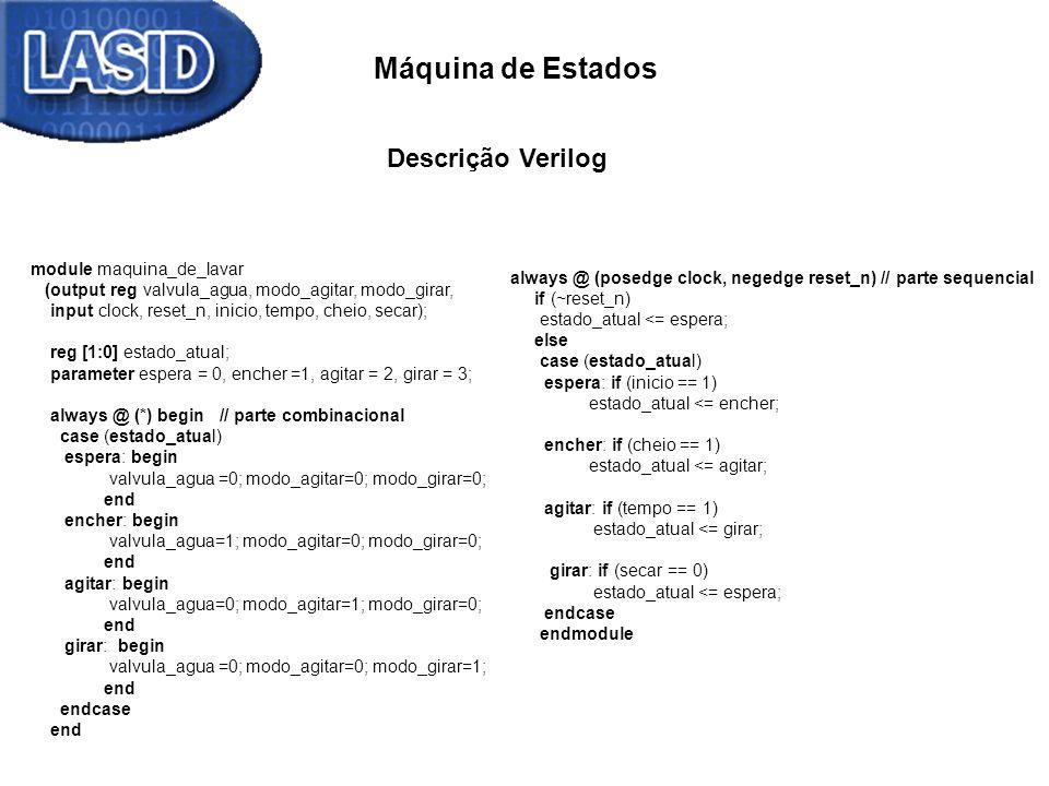 Máquina de Estados module maquina_de_lavar (output reg valvula_agua, modo_agitar, modo_girar, input clock, reset_n, inicio, tempo, cheio, secar); reg