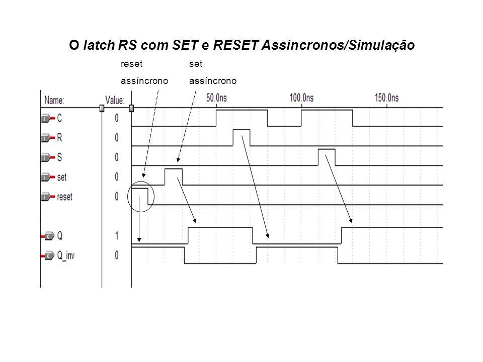 reset assíncrono set assíncrono O latch RS com SET e RESET Assincronos/Simulação