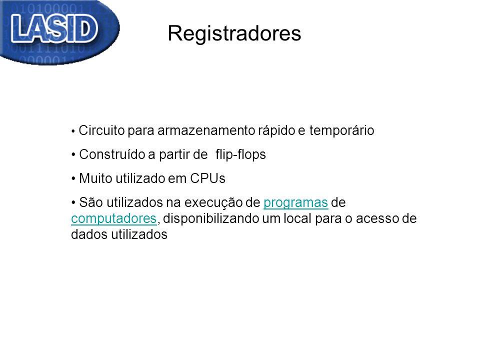 Registradores Circuito para armazenamento rápido e temporário Construído a partir de flip-flops Muito utilizado em CPUs São utilizados na execução de