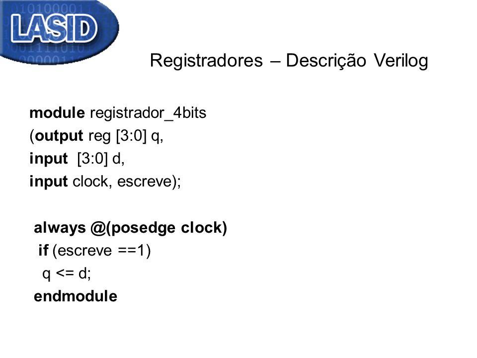 Registradores – Descrição Verilog module registrador_4bits (output reg [3:0] q, input [3:0] d, input clock, escreve); always @(posedge clock) if (escr