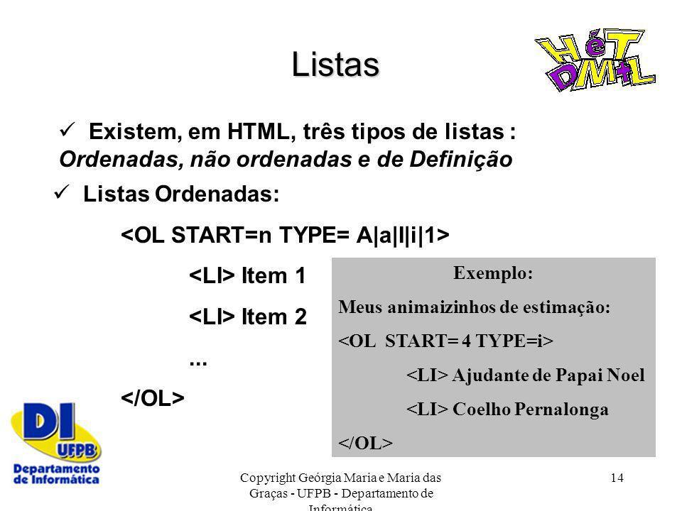Copyright Geórgia Maria e Maria das Graças - UFPB - Departamento de Informática 14 Listas Existem, em HTML, três tipos de listas : Ordenadas, não orde