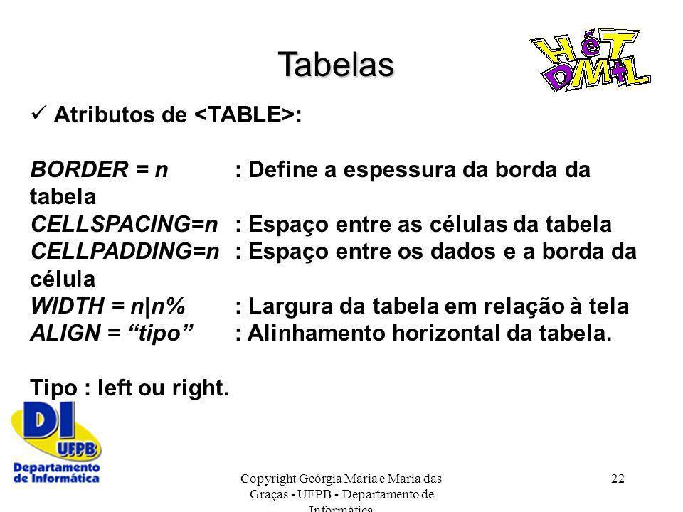 Copyright Geórgia Maria e Maria das Graças - UFPB - Departamento de Informática 22 Tabelas Atributos de : BORDER = n: Define a espessura da borda da t