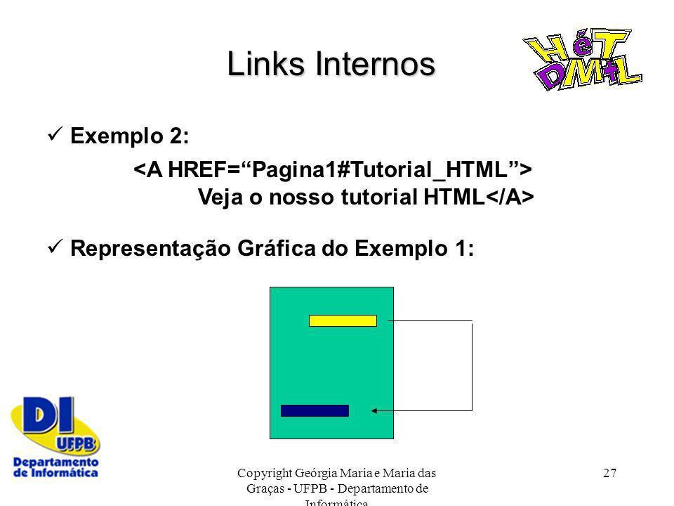 Copyright Geórgia Maria e Maria das Graças - UFPB - Departamento de Informática 27 Links Internos Exemplo 2: Veja o nosso tutorial HTML Representação