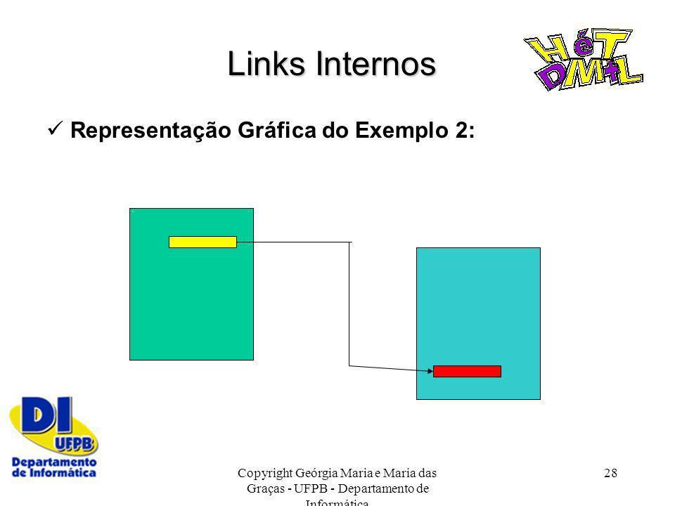 Copyright Geórgia Maria e Maria das Graças - UFPB - Departamento de Informática 28 Links Internos Representação Gráfica do Exemplo 2: