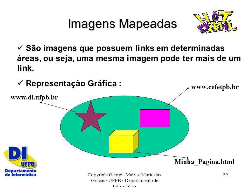 Copyright Geórgia Maria e Maria das Graças - UFPB - Departamento de Informática 29 Imagens Mapeadas São imagens que possuem links em determinadas área