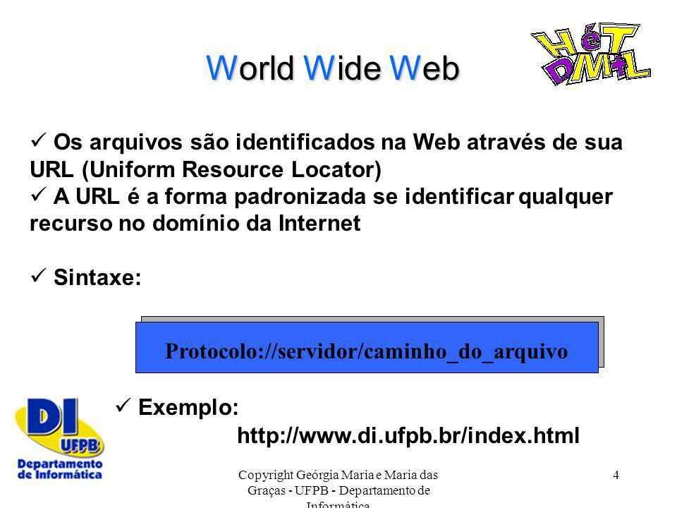 Copyright Geórgia Maria e Maria das Graças - UFPB - Departamento de Informática 4 World Wide Web Os arquivos são identificados na Web através de sua U