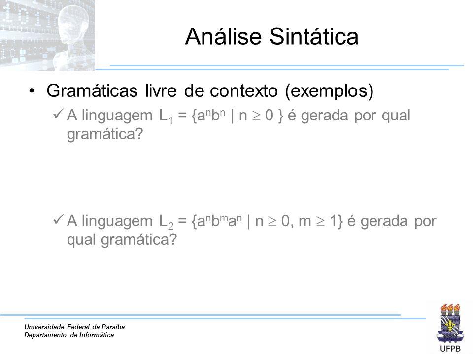 Universidade Federal da Paraíba Departamento de Informática Análise Sintática Gramáticas livre de contexto (exemplos) A linguagem L 1 = {a n b n | n 0