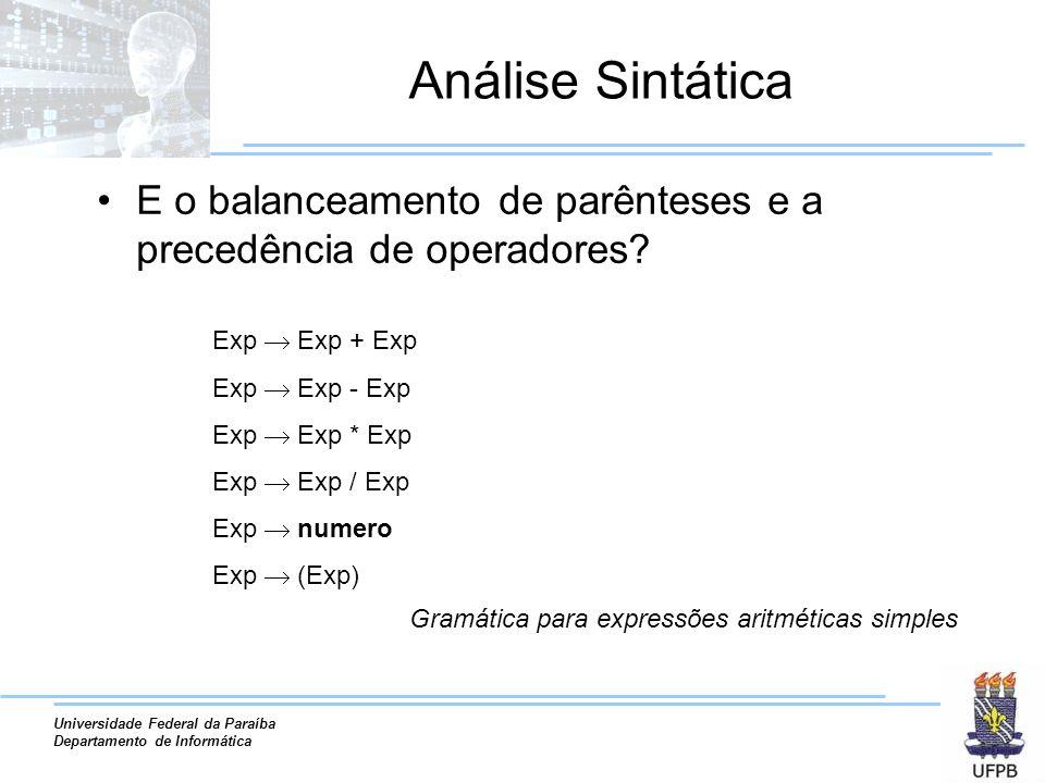 Universidade Federal da Paraíba Departamento de Informática Análise Sintática E o balanceamento de parênteses e a precedência de operadores? Exp Exp +