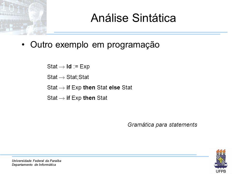 Universidade Federal da Paraíba Departamento de Informática Análise Sintática Outro exemplo em programação Stat Id := Exp Stat Stat;Stat Stat if Exp t