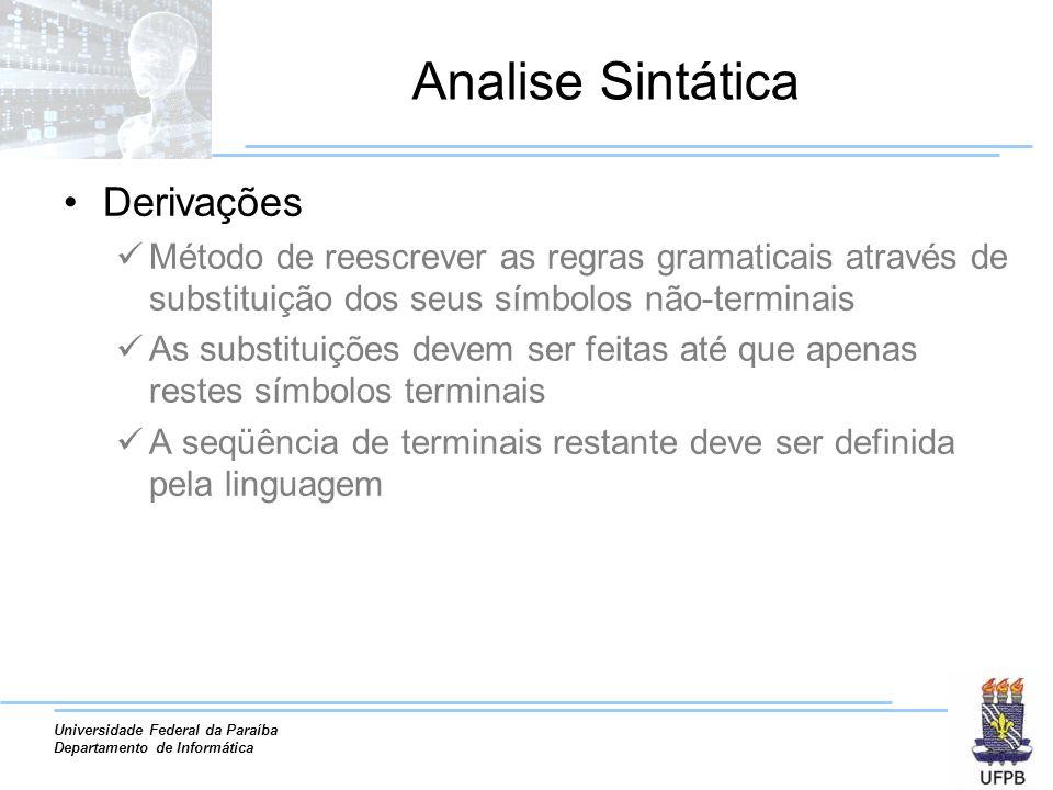 Universidade Federal da Paraíba Departamento de Informática Analise Sintática Derivações Método de reescrever as regras gramaticais através de substit