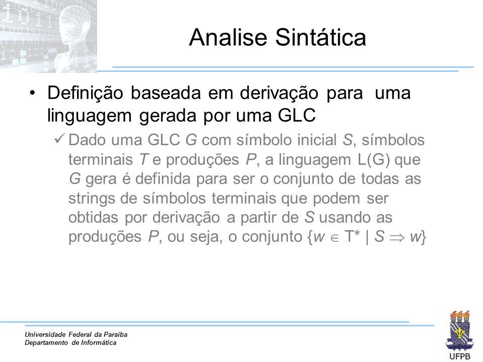 Universidade Federal da Paraíba Departamento de Informática Analise Sintática Definição baseada em derivação para uma linguagem gerada por uma GLC Dad