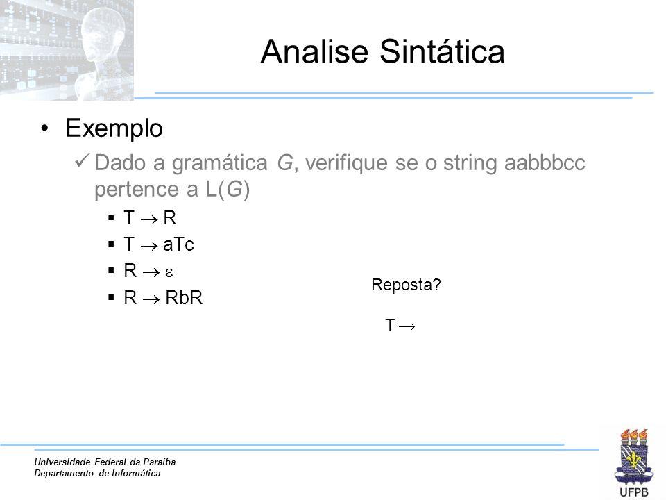 Universidade Federal da Paraíba Departamento de Informática Analise Sintática Exemplo Dado a gramática G, verifique se o string aabbbcc pertence a L(G