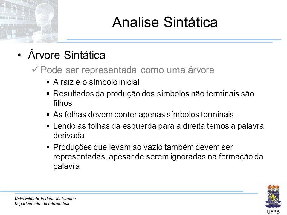 Universidade Federal da Paraíba Departamento de Informática Analise Sintática Árvore Sintática Pode ser representada como uma árvore A raiz é o símbol