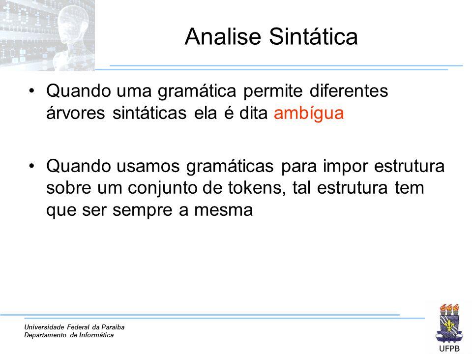 Universidade Federal da Paraíba Departamento de Informática Analise Sintática Quando uma gramática permite diferentes árvores sintáticas ela é dita am