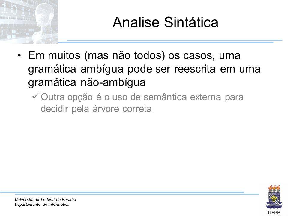 Universidade Federal da Paraíba Departamento de Informática Analise Sintática Em muitos (mas não todos) os casos, uma gramática ambígua pode ser reesc