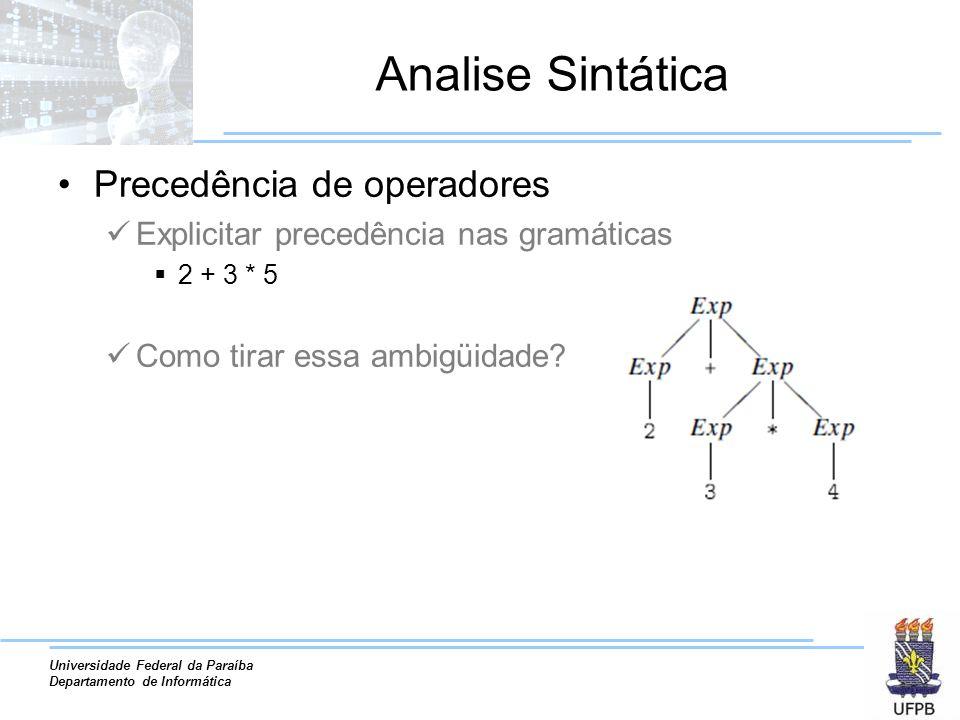 Universidade Federal da Paraíba Departamento de Informática Analise Sintática Precedência de operadores Explicitar precedência nas gramáticas 2 + 3 *