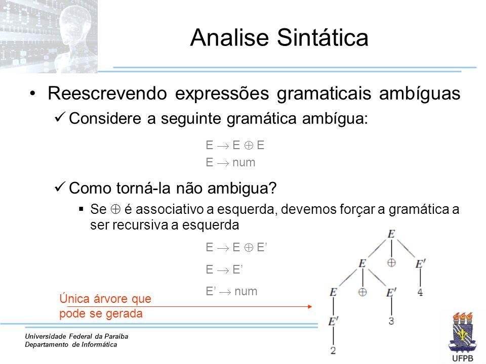 Universidade Federal da Paraíba Departamento de Informática Analise Sintática Reescrevendo expressões gramaticais ambíguas Considere a seguinte gramát