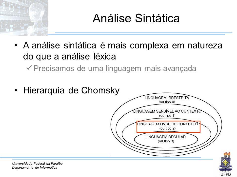 Universidade Federal da Paraíba Departamento de Informática Análise Sintática A análise sintática é mais complexa em natureza do que a análise léxica