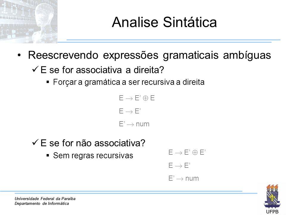 Universidade Federal da Paraíba Departamento de Informática Analise Sintática Reescrevendo expressões gramaticais ambíguas E se for associativa a dire