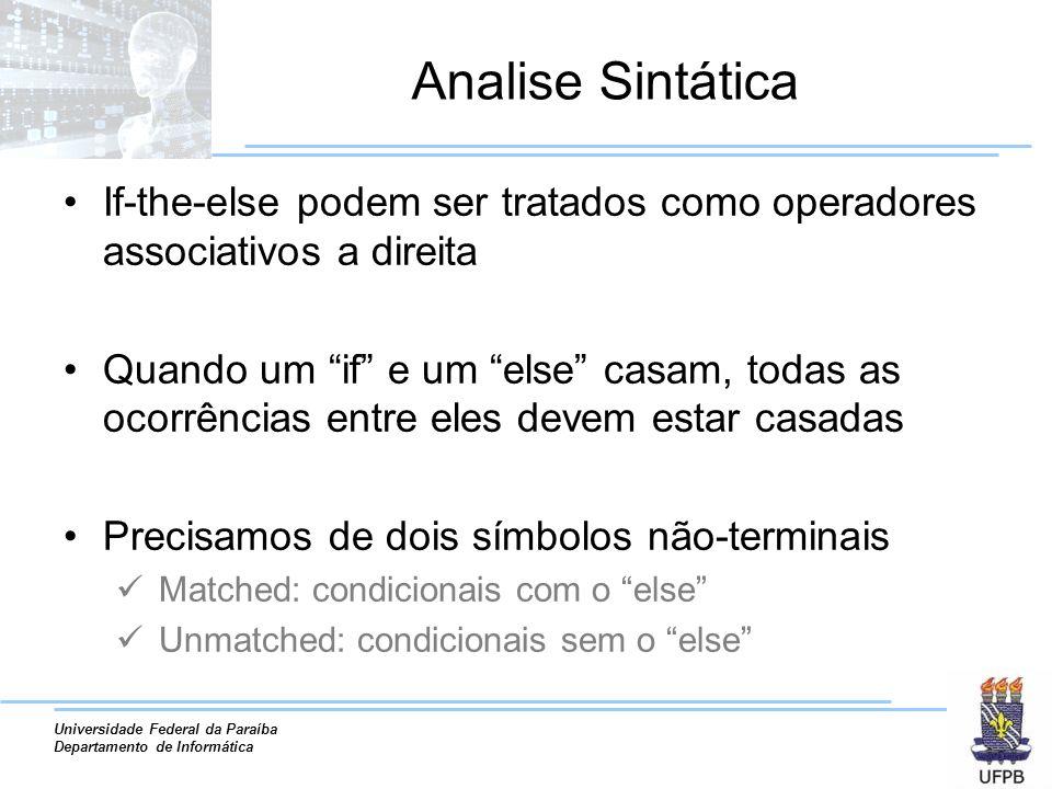 Universidade Federal da Paraíba Departamento de Informática Analise Sintática If-the-else podem ser tratados como operadores associativos a direita Qu