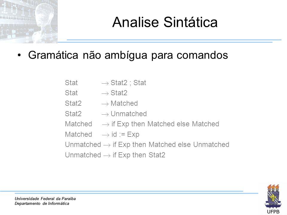 Universidade Federal da Paraíba Departamento de Informática Analise Sintática Gramática não ambígua para comandos Stat Stat2 ; Stat Stat Stat2 Stat2 M