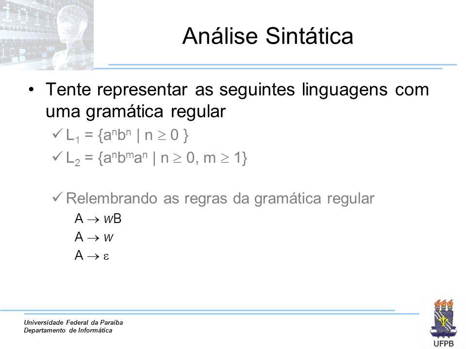 Universidade Federal da Paraíba Departamento de Informática Análise Sintática Exemplo mais concreto Expressões aritméticas Num[[+|-|x|/]num]* Como representar casamento de parênteses.